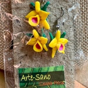 Recycled Arte-Sano Necklace/Earring Yellow Flower